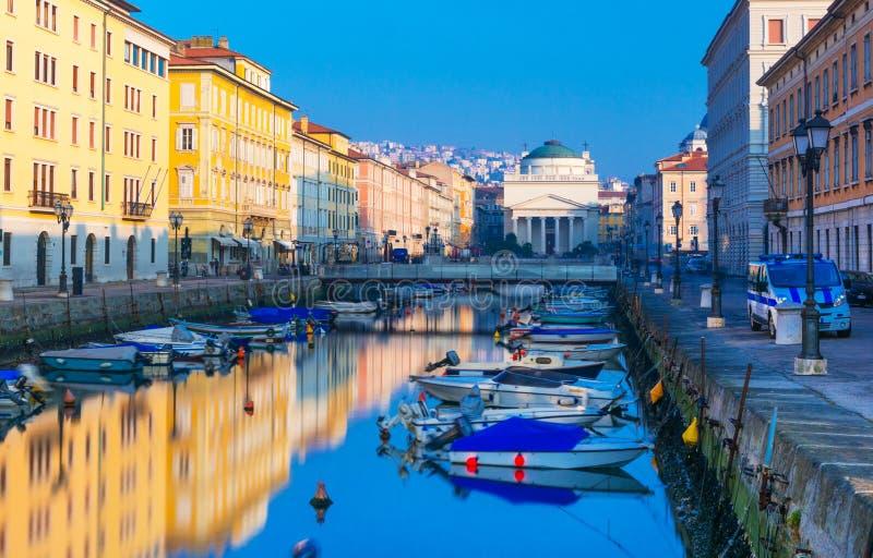 Trieste, Italy. Trieste - February of 2015, Friuli Venezia Giulia region, Italy : View of Grand Canal in the city of Trieste royalty free stock photo