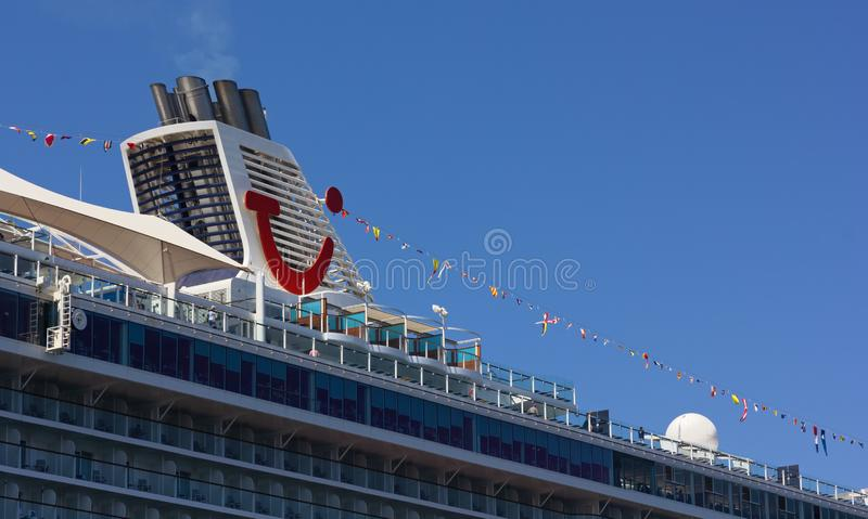 Cruise Ship Moored in Trieste. TRIESTE, Italy - June 16, 2019: Closeup of the cruise ship Mein Schiff 6 moored next to the Audace pier royalty free stock image
