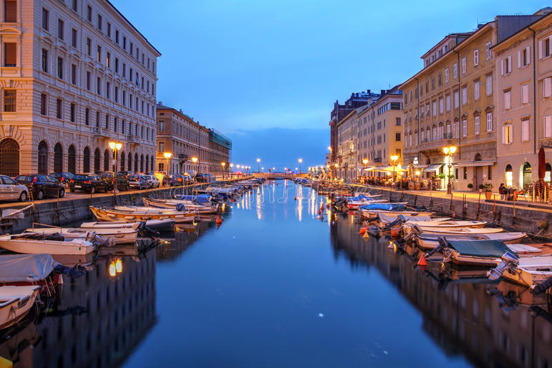 Trieste, Italy. Scenic view of the Canal Grande in Trieste, Italy at night royalty free stock photography