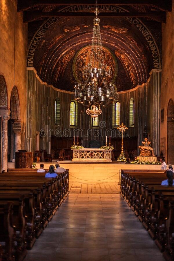 Trieste, Italy - September 2019: Interior architecture of the roman catholic cathedral `Basilica cattedrale di san giusto martire royalty free stock image