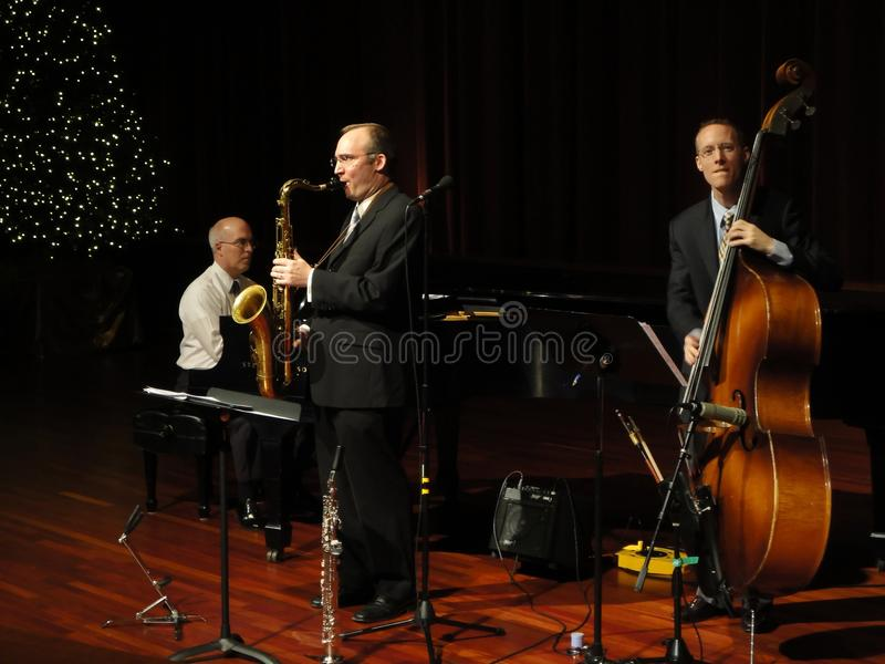 Trifecta Jazz Band Trio. Photo of the trifecta trio jazz band performing christmas music on 12/29/10 at the mormon temple's visitor center in kensington maryland royalty free stock images