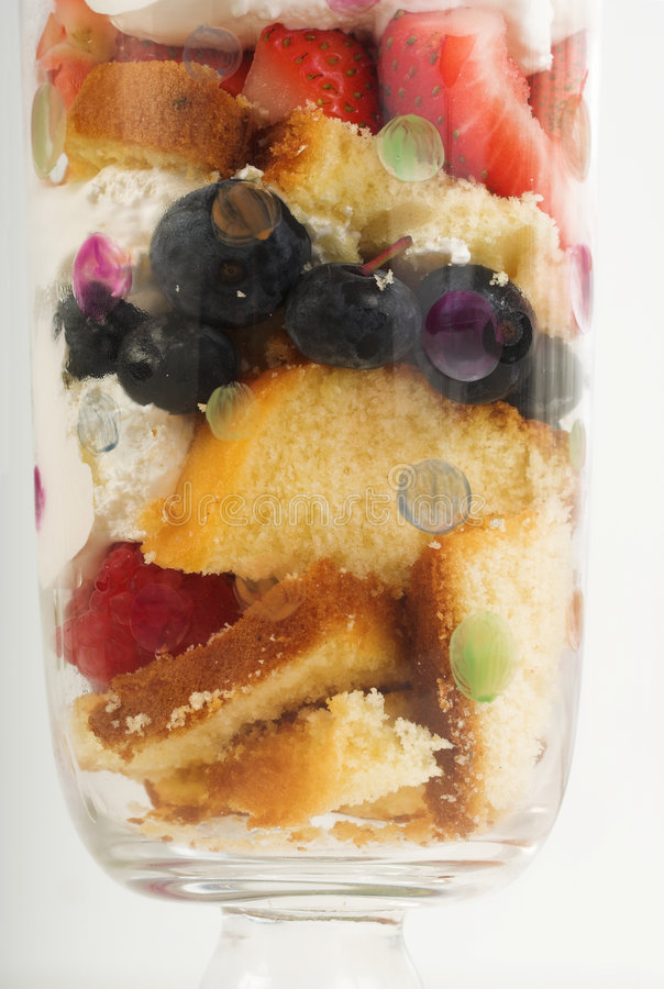 Trifle Dessert. Layered Trifle dessert with cake and fruit royalty free stock photos