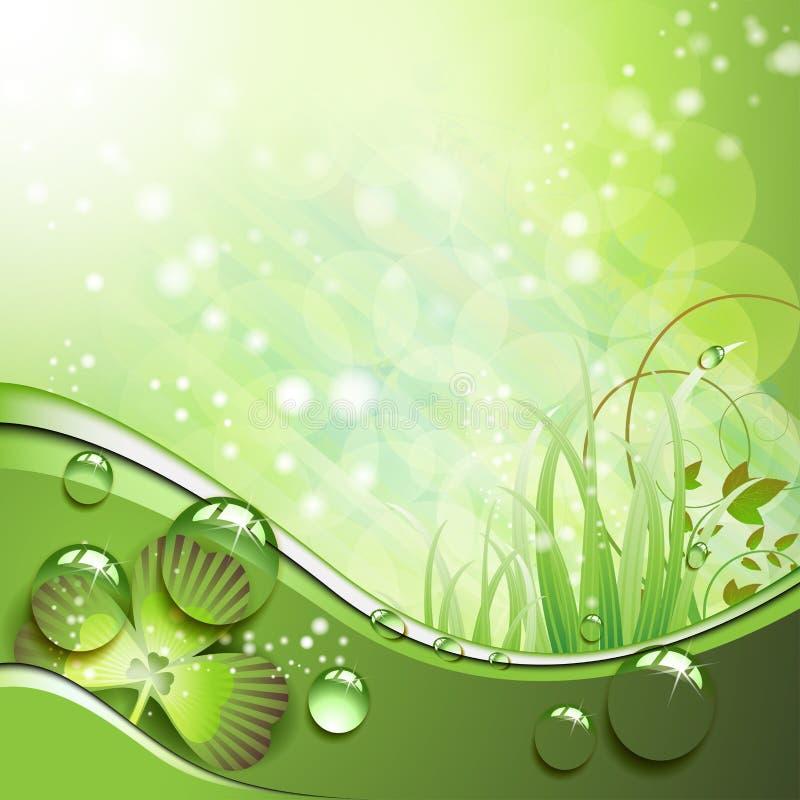 Trifoglio ed erba con le gocce illustrazione vettoriale