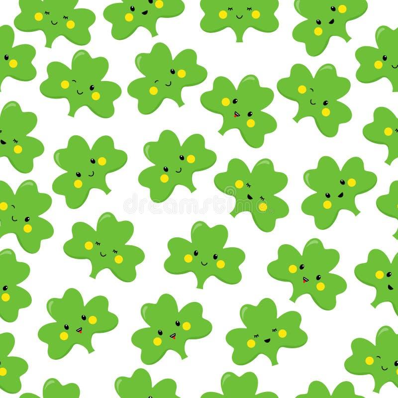 Trifoglio, emoticon o emoji Caratteri per il giorno della st Patricks Reticolo senza giunte Vettore illustrazione di stock