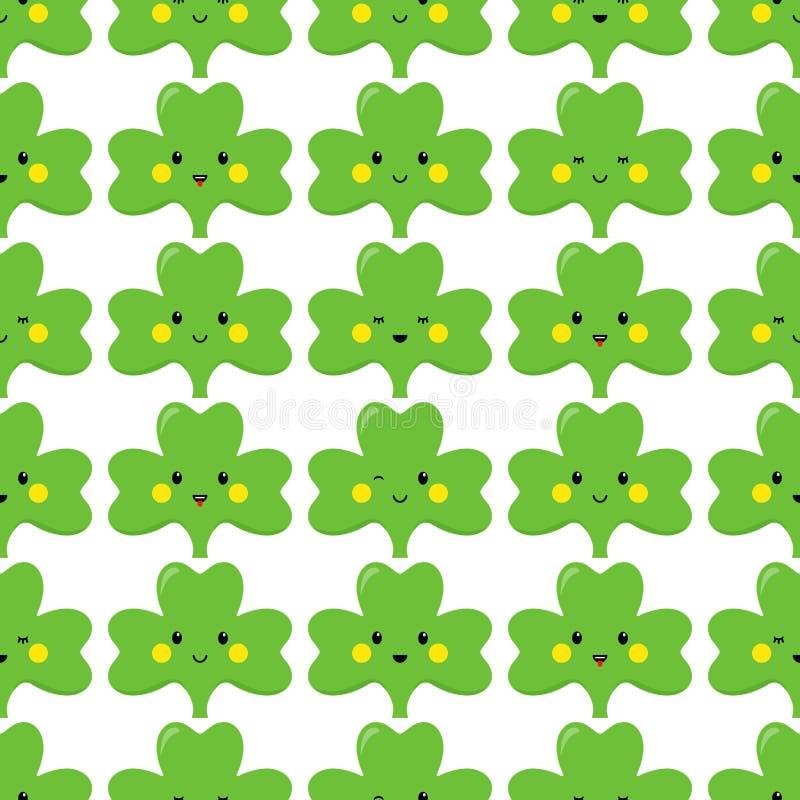 Trifoglio, emoticon o emoji Caratteri per il giorno della st Patricks Reticolo senza giunte Vettore illustrazione vettoriale