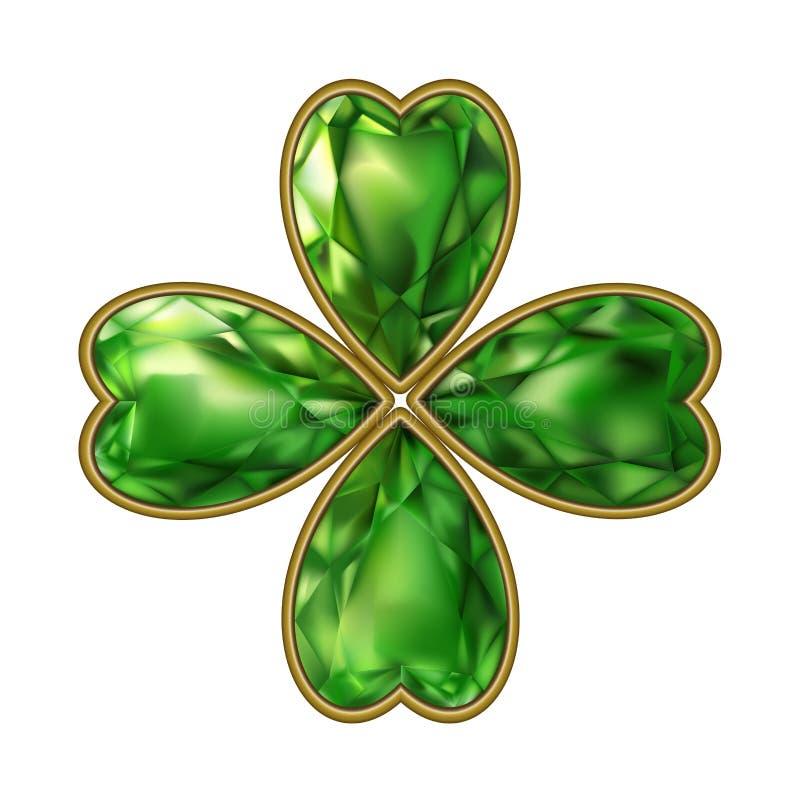 Trifoglio monili bijou Giorno del ` s di St Patrick di vettore royalty illustrazione gratis