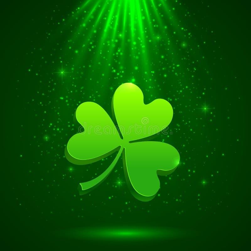 Trifoglio verde nei precedenti leggeri magici illustrazione vettoriale