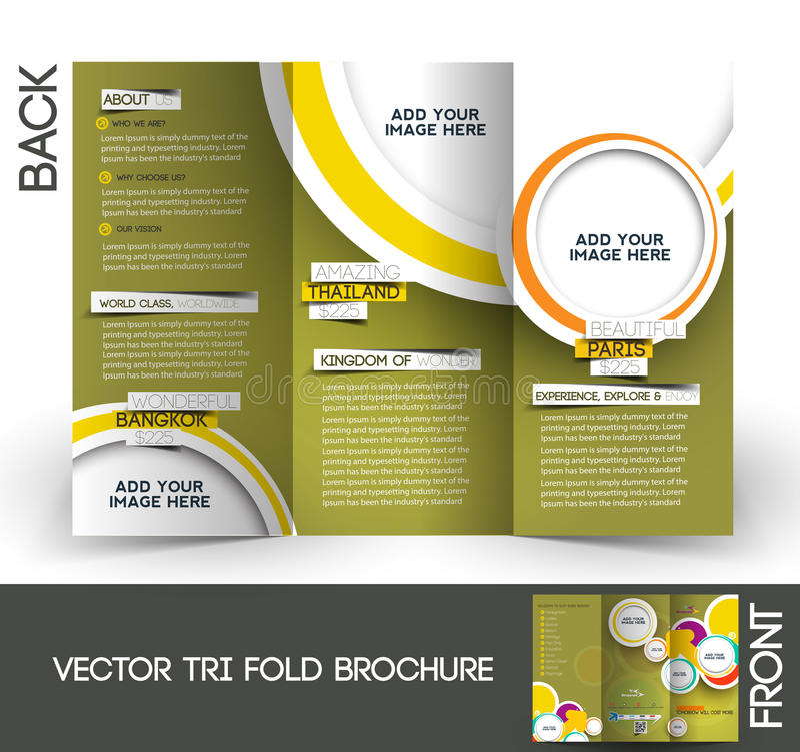 Trifold брошюра перемещения иллюстрация штока