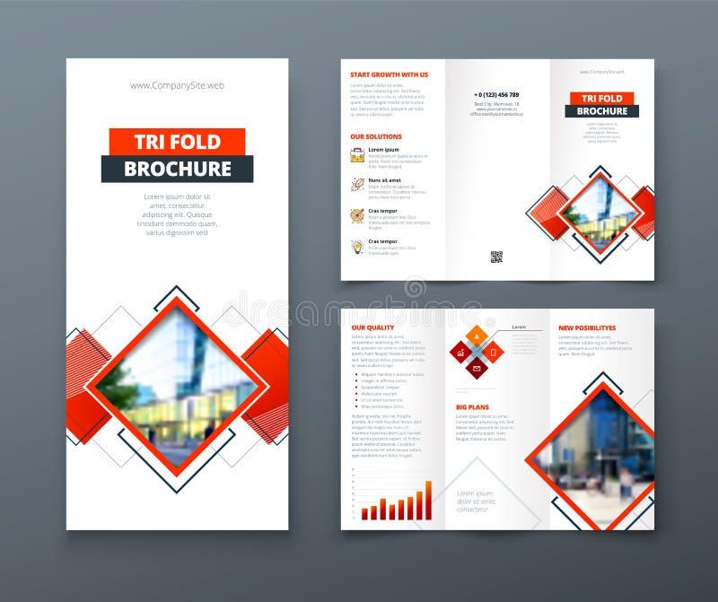 Trifold дизайн брошюры Шаблон корпоративного бизнеса для trifold рогульки с квадратом косоугольника формирует бесплатная иллюстрация