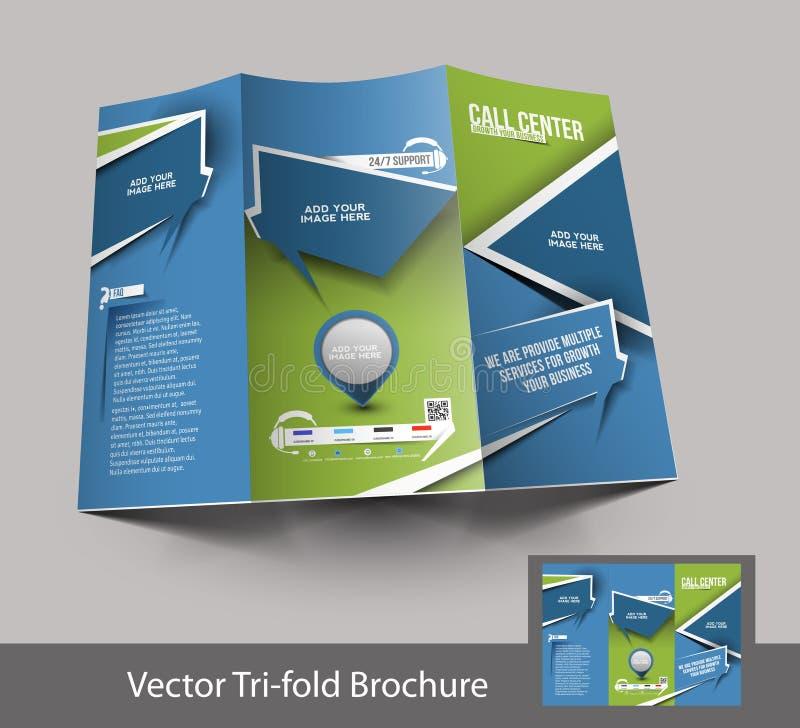 Trifold дизайн брошюры центра телефонного обслуживания иллюстрация штока