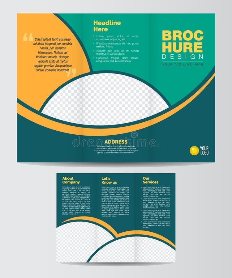 Trifold корпоративный фронт и Backe шаблона плана дизайна брошюры иллюстрация штока