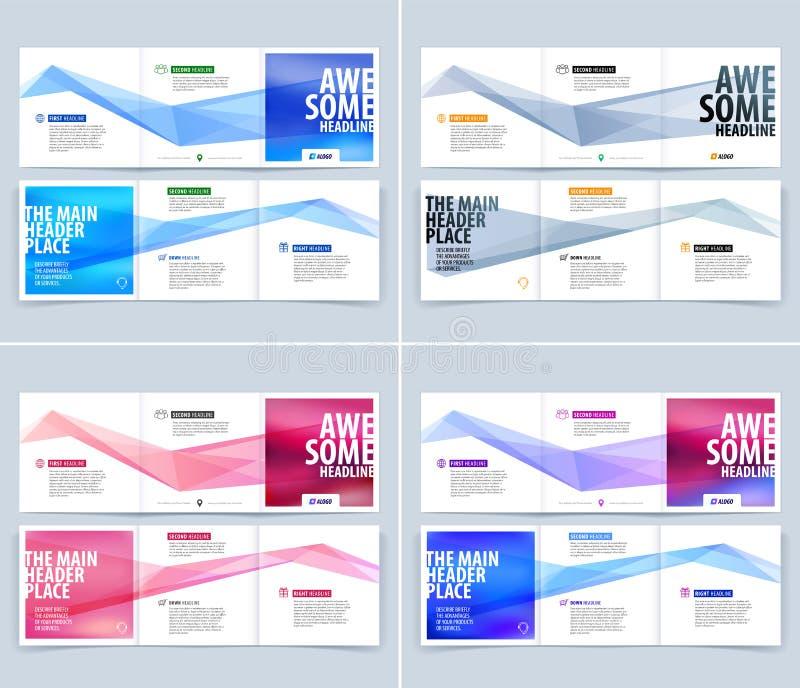 Trifold план шаблона брошюры, дизайн крышки, рогулька в острословии A4 иллюстрация штока