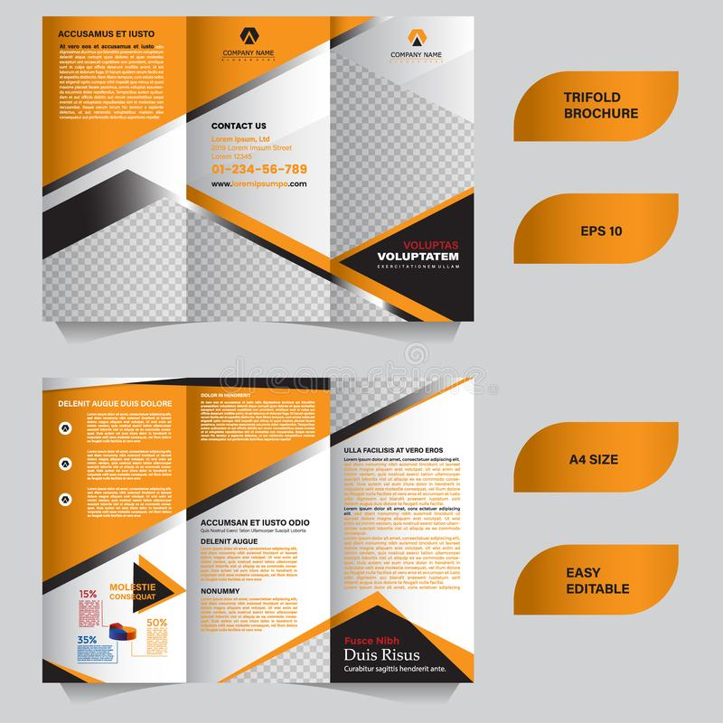 Modern trifold brochure template with flat and elegant concept vector illustration