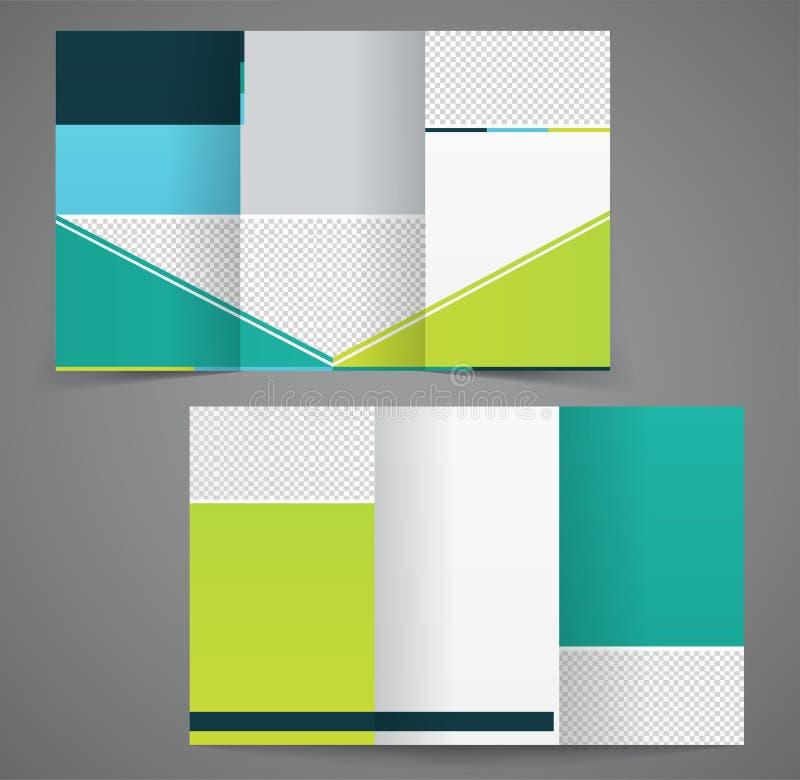 Trifold bedrijfsbrochuremalplaatje, malplaatjeontwerp met twee kanten vector illustratie