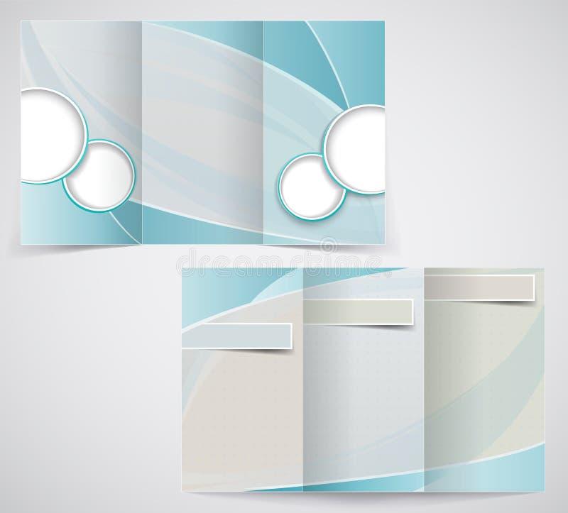 Trifold biznesowy broszurka szablon, wektorowy błękitny d