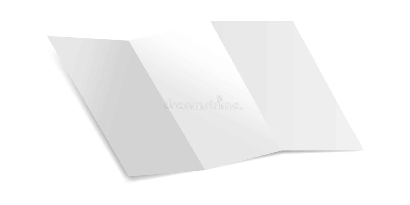 Trifold Blank Piece of Paper with shadows Mockup Vector Illustration. Mock up of a letter paper isolated on a white background. stock illustration