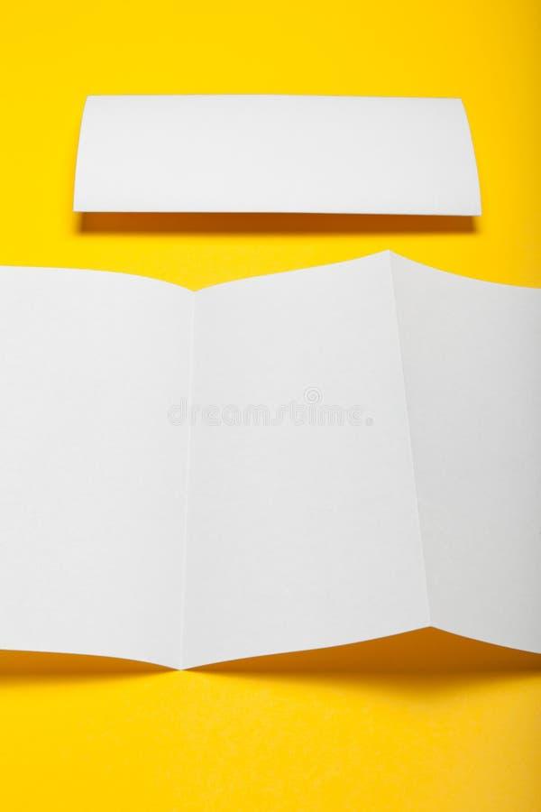 Trifold brochure mockup, blank DL flyer fold.  royalty free stock image