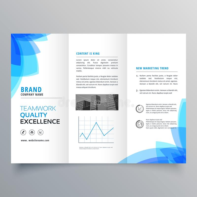 Trifold brochure template design with abstract blue shapes. Vector stock illustration