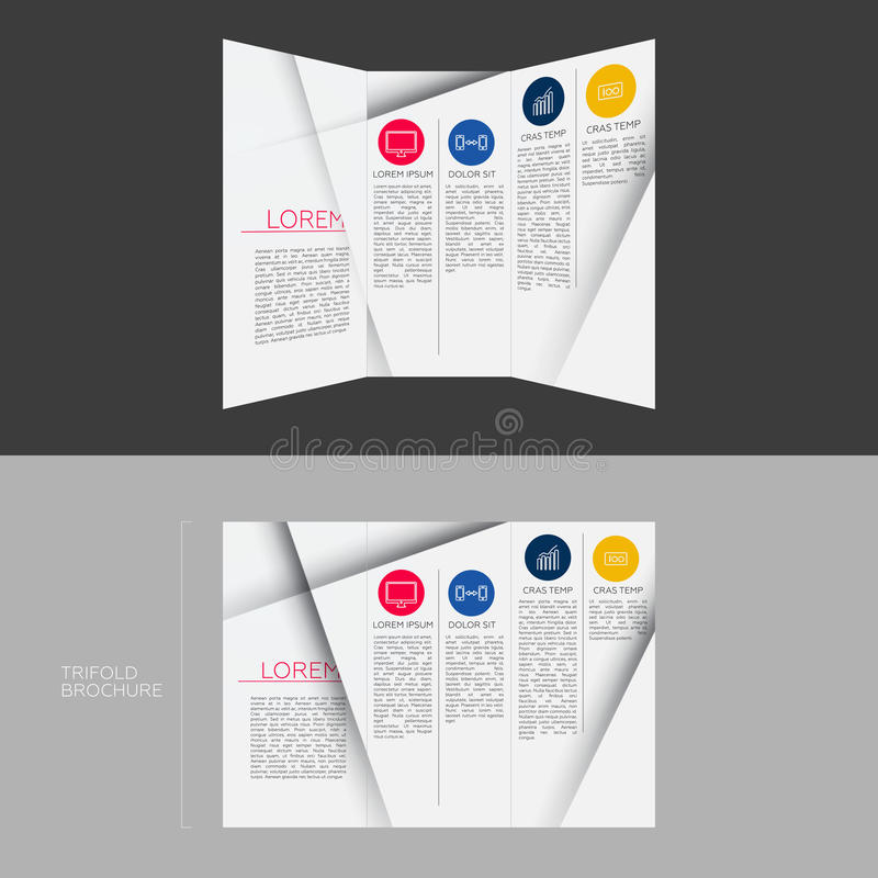 Trifold Brochure Template Design In Dl Size Stock Illustration