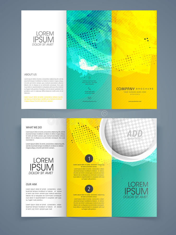 trifold brochure template or flyer for business stock illustration