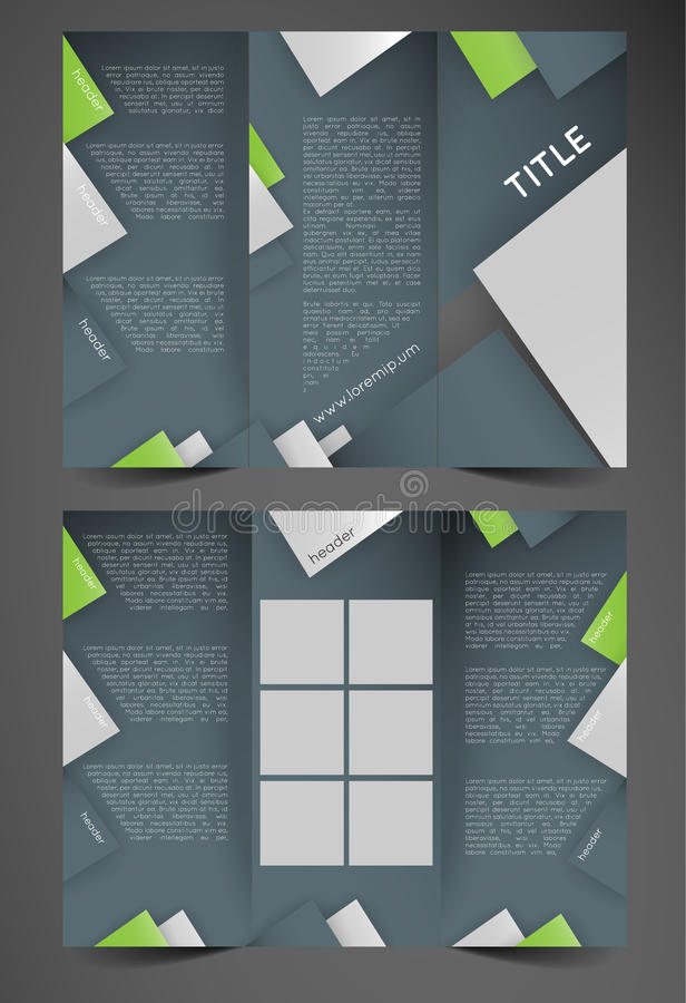 Trifold brochure template. With triangles, design template stock illustration