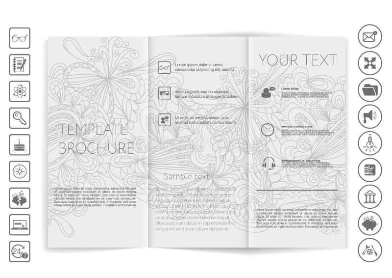 Trifold broschyråtlöje upp vektordesign arkivfoton