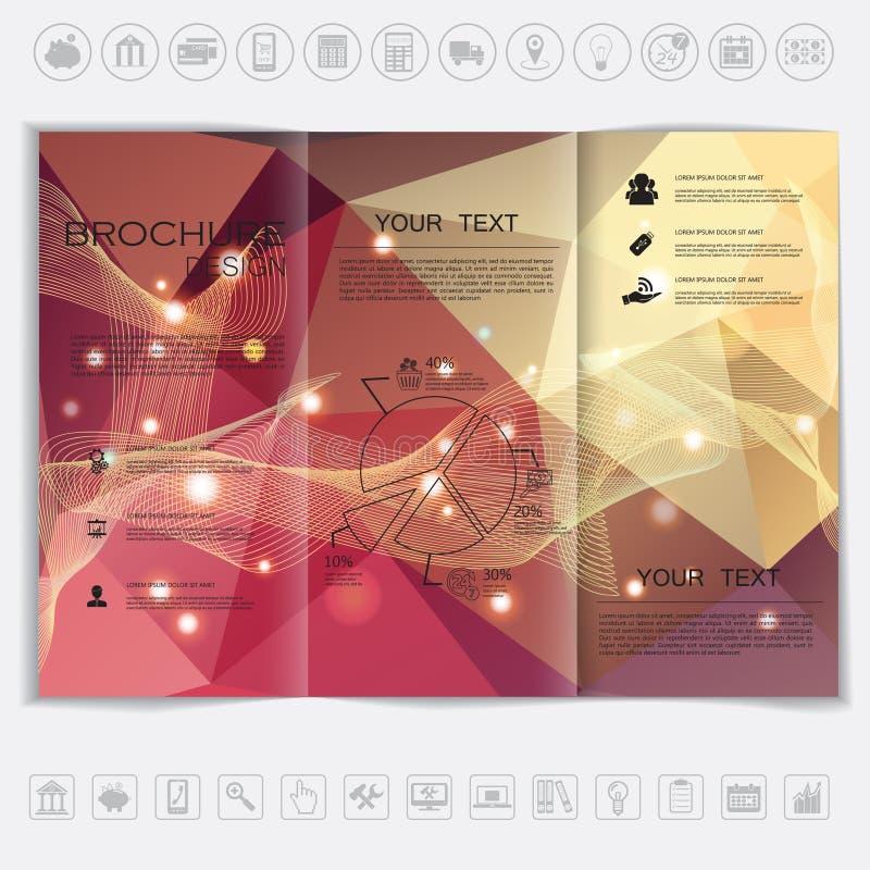 Trifold broschyråtlöje upp vektordesign Polygonal bakgrund med vågor och skinande beståndsdelar royaltyfri illustrationer