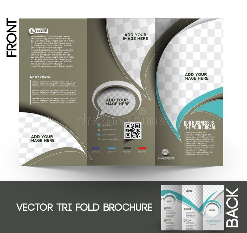 Trifold broschyr för företags affär stock illustrationer