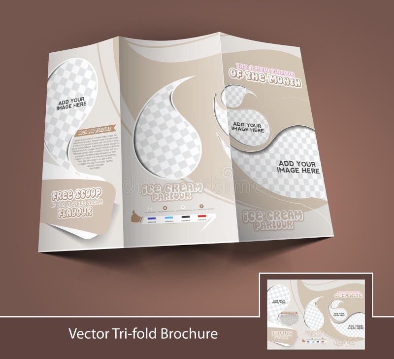 Trifold broschyr för glasslager stock illustrationer