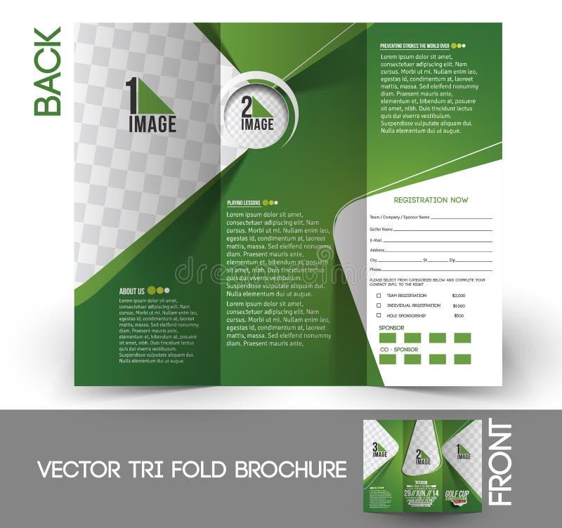 Trifold broschyr för golfturnering royaltyfri illustrationer