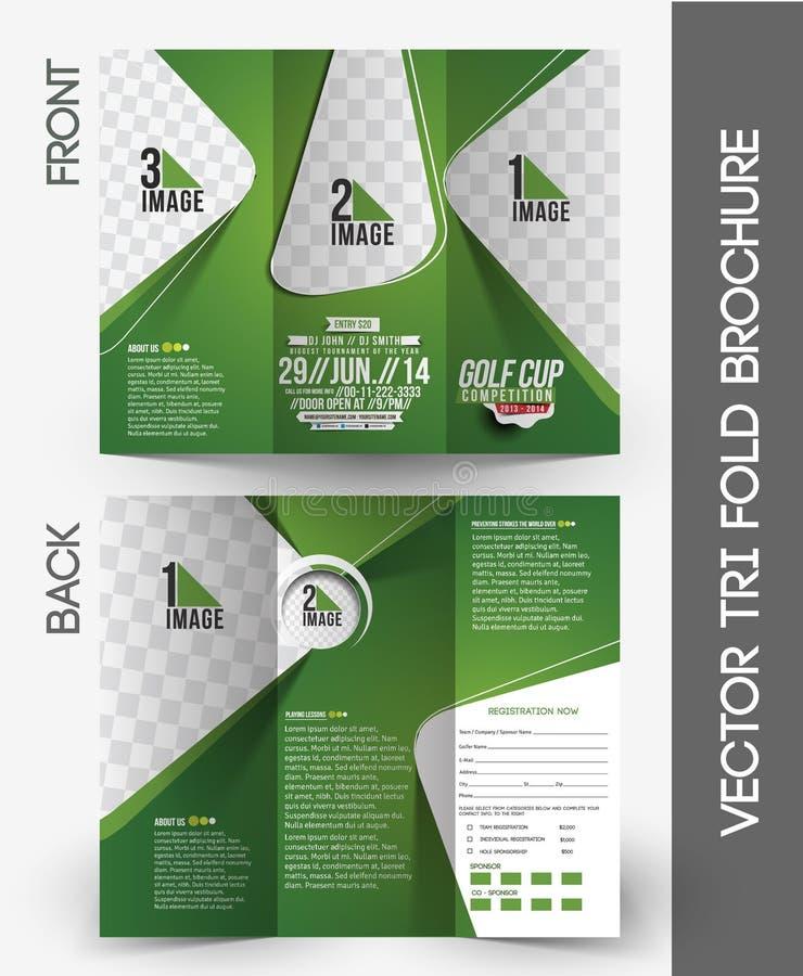 Trifold broschyr för golfturnering vektor illustrationer