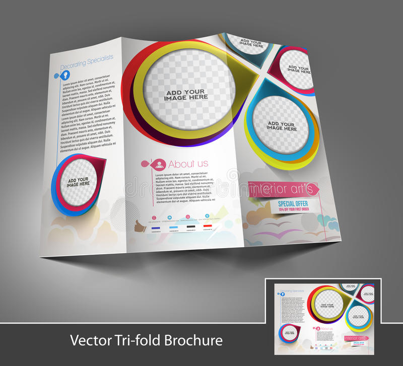 Trifold broschyr för inreformgivare stock illustrationer