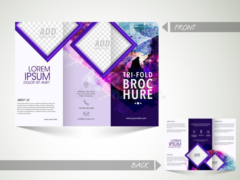 Trifold broschyr, mall eller reklamblad för affär vektor illustrationer