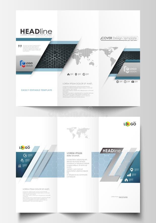 Trifold broschyraffärsmallar på båda sidor royaltyfri illustrationer