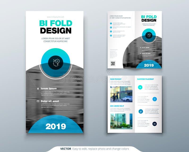 Trifold broschyrdesign Affärsmall för trifold reklamblad med det moderna cirkelfotoet och idérik abstrakt begreppbakgrund royaltyfri illustrationer