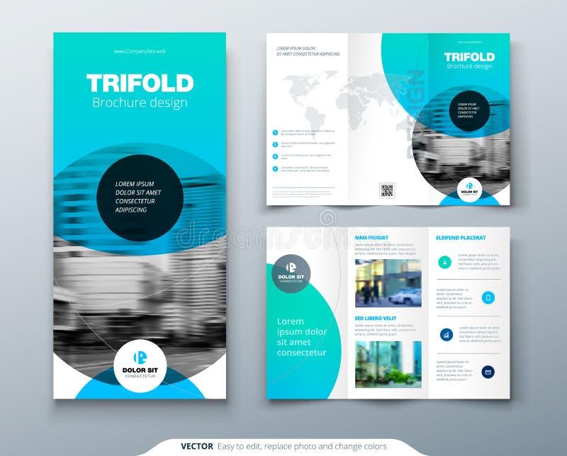 Trifold broschyrdesign Blå affärsmall för trifold reklamblad Orientering med det modernt cirkelfotoet och abstrakt begrepp stock illustrationer