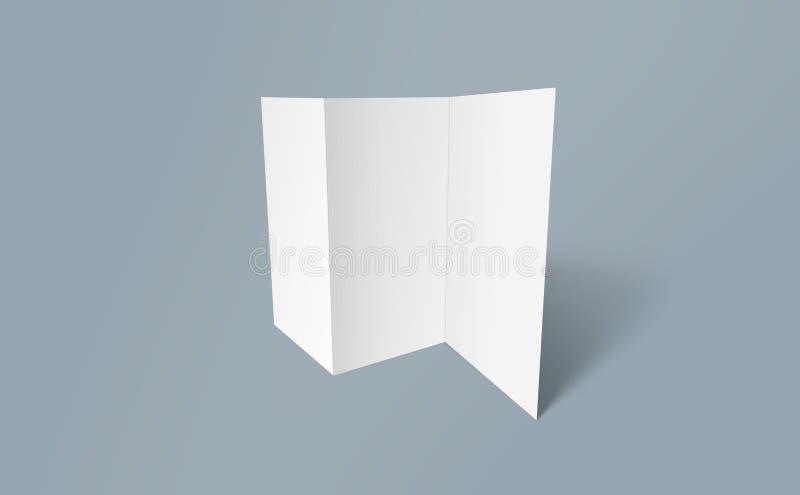Trifold broschyrmodell Vitt mallpapper för tom broschyr på bakgrund Pappers- broschyr för tre veck arkivfoton