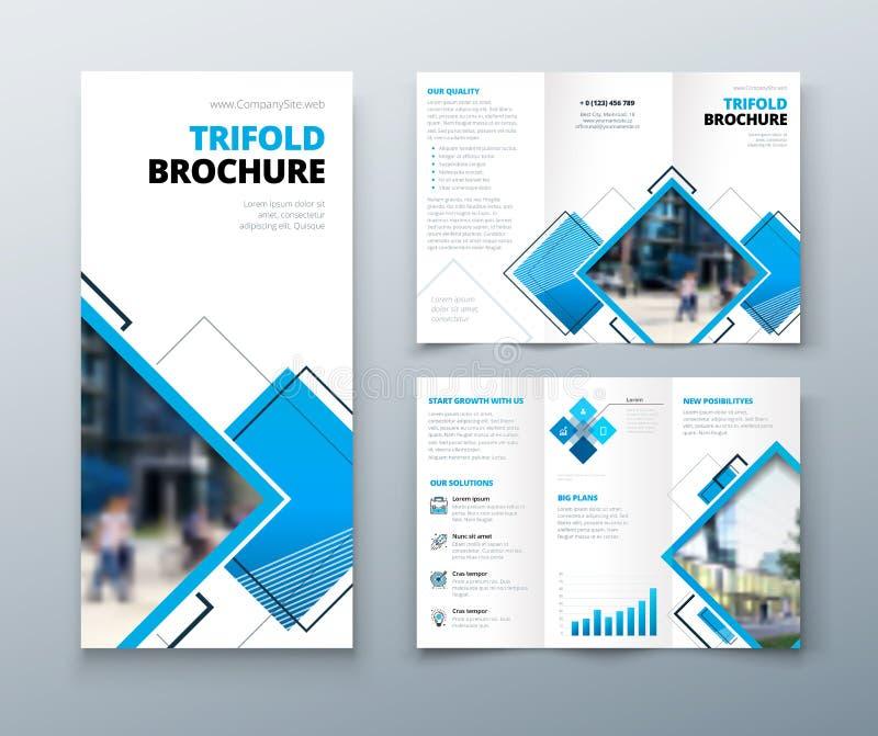 Trifold broszurka projekt Korporacyjnego biznesu szablon dla trifold ulotki z rhombus kwadratem kształtuje royalty ilustracja