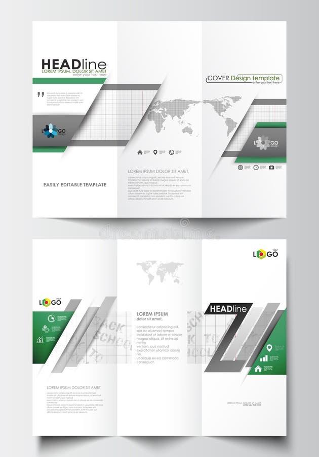 Trifold broszurki biznesowi szablony na obich stronach Łatwy editable abstrakcjonistyczny układ w płaskim projekcie tylna szkoły ilustracji