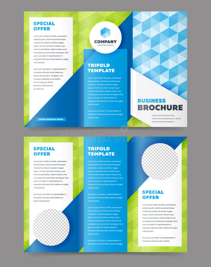 Trifold Business Brochure Design Template royalty free illustration