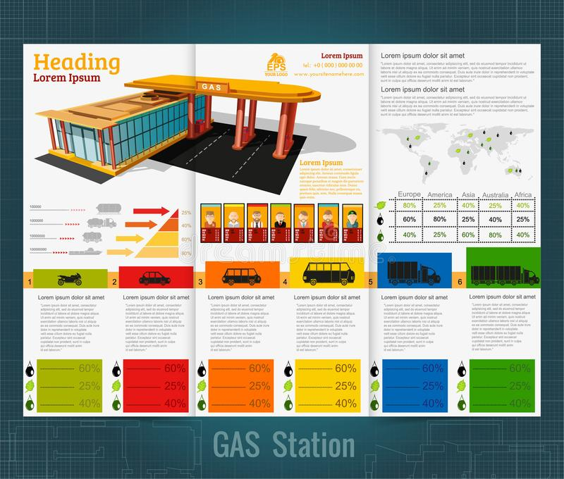 Trifold business brochure or flyer, gas station infographic realistic gas station with abstract diagrams. And transport royalty free illustration