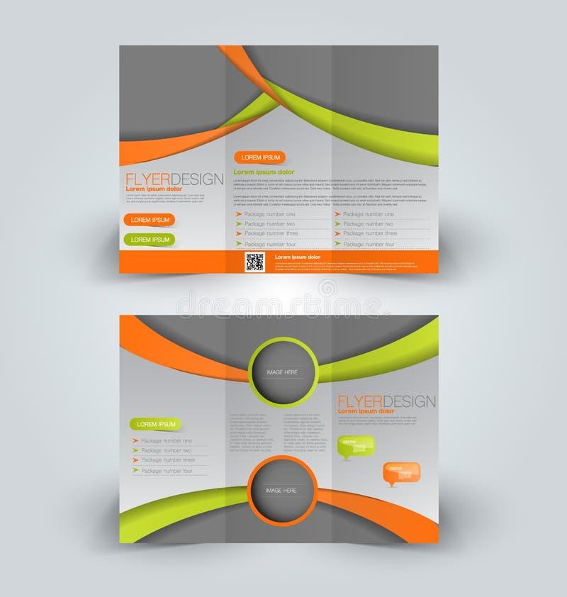 Trifold business brochure leaflet template vector illustration