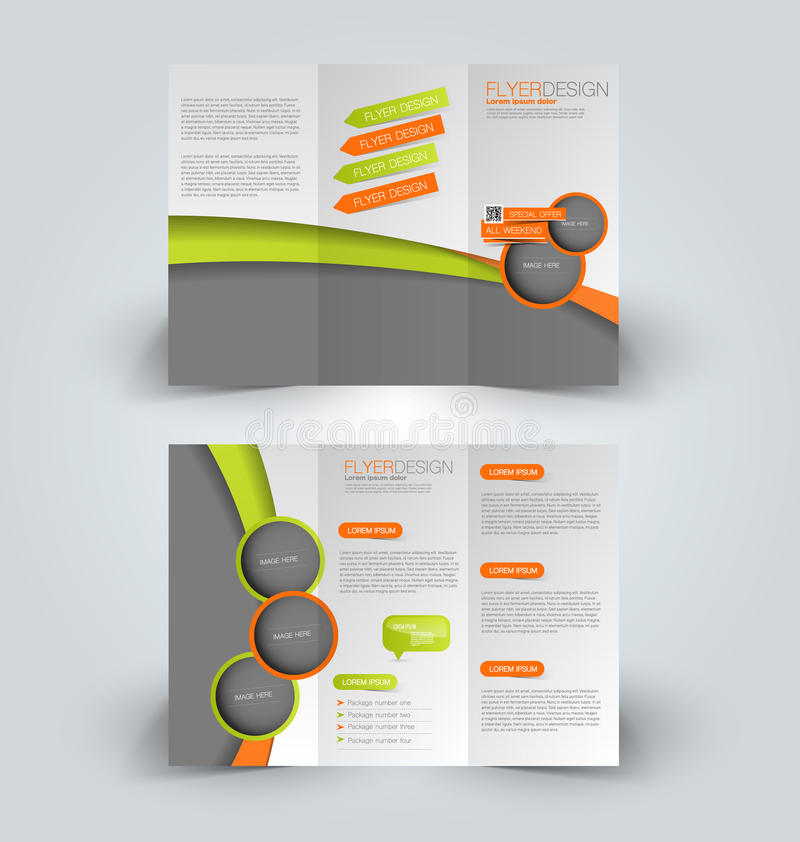 Trifold Business Brochure Leaflet Template Stock Vector