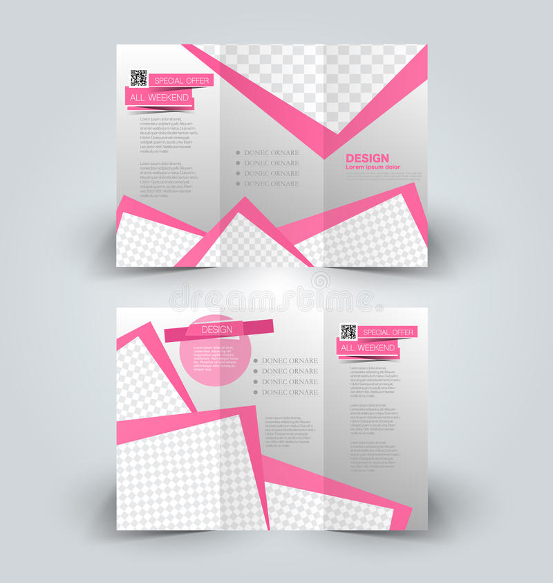 Trifold business brochure leaflet template. Brochure mock up design template for business, education, advertisement. Trifold booklet editable printable vector royalty free illustration