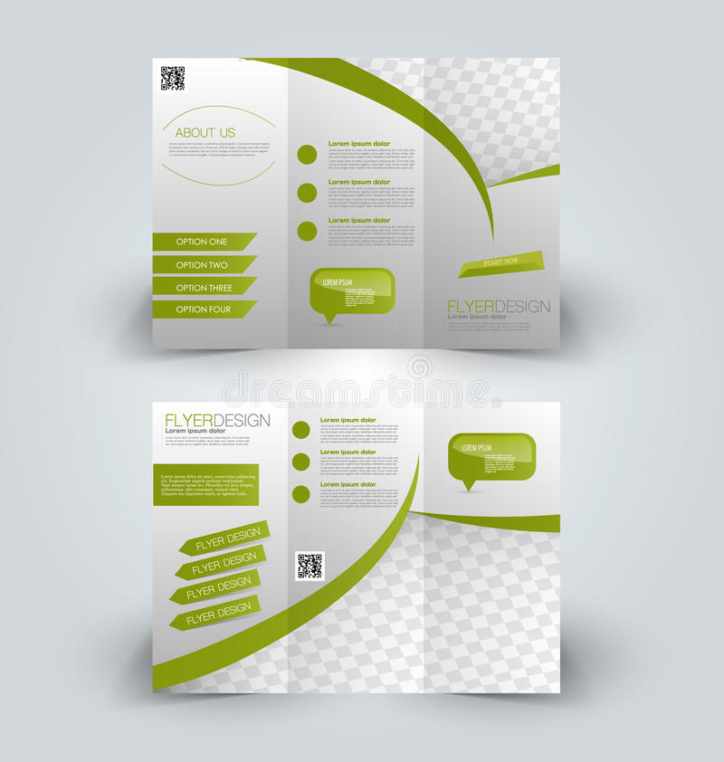 Trifold business brochure leaflet template stock vector brochure mock up design template for business education advertisement trifold booklet editable printable vector illustration green color flashek Choice Image