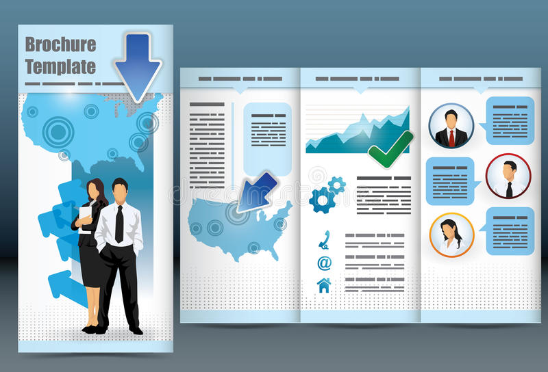 Trifold business brochure template. With location map, information, analytical graph and management to employee statistics royalty free illustration