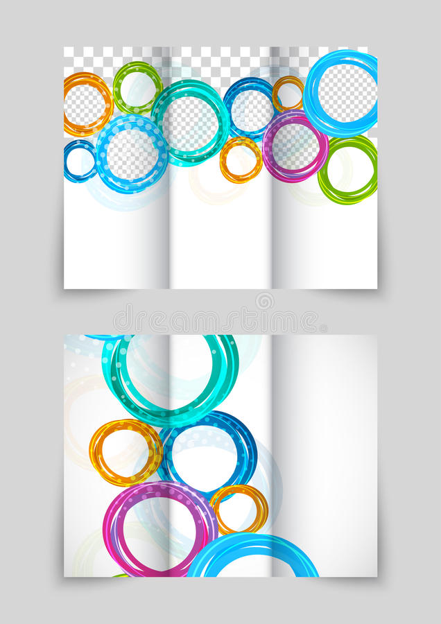 Trifold circles colorful brochure. With space for image design royalty free illustration