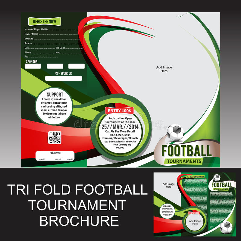 Trifold fotbollturneringbroschyr royaltyfri illustrationer