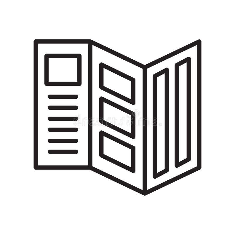 Trifold ikona wektor odizolowywający na białym tle, Trifold znak ilustracji