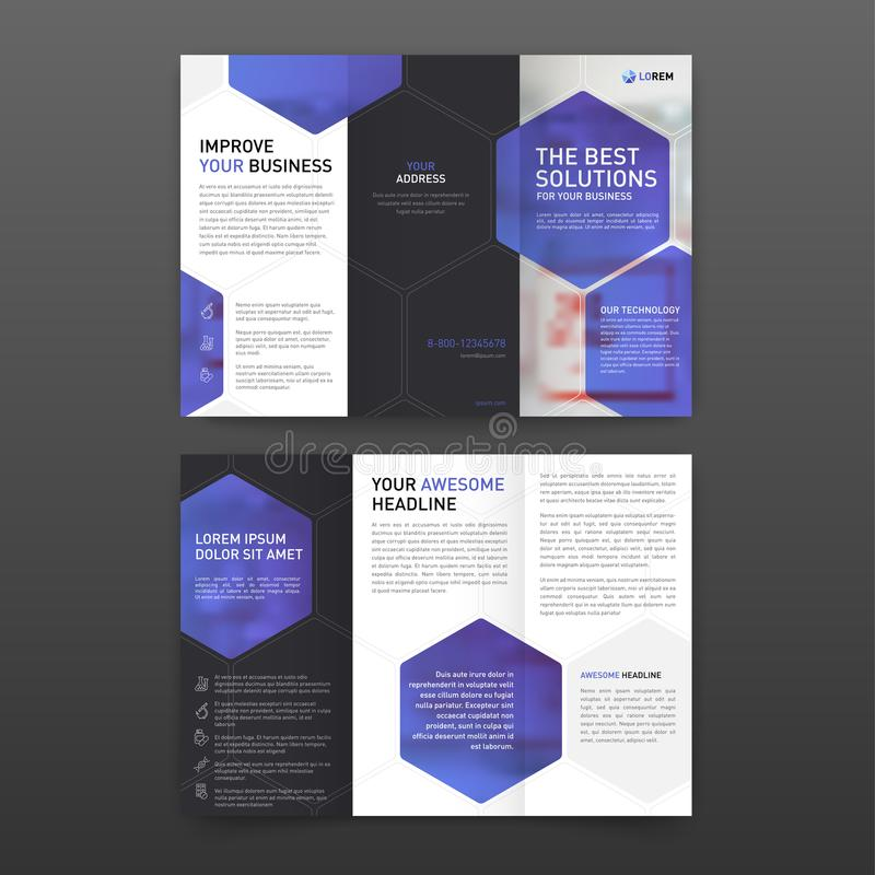 Trifold mallorientering för farmaceutisk broschyr med symboler royaltyfri illustrationer